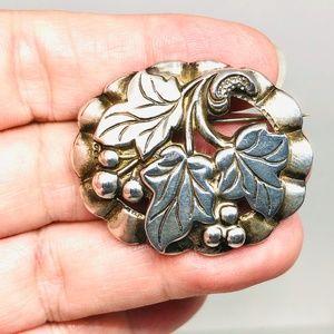 Art Nouveau Sterling Repousse Foliage Brooch